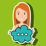 Woman cartoon cloud speack chat Royalty Free Stock Images