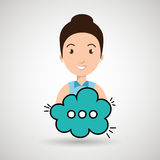 Woman cartoon cloud speack chat. Woman cartoon cloud blue speack chat  illustration eps 10 Royalty Free Stock Images