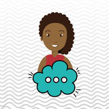 Woman cartoon cloud speack chat. Woman cartoon cloud blue speack chat  illustration eps 10 Royalty Free Stock Image