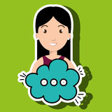 Woman cartoon cloud speack chat Royalty Free Stock Image