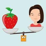 woman cartoon fruit strawberry food balance Royalty Free Stock Photos