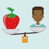 woman cartoon fruit strawberry food balance Stock Photo