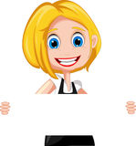 Woman cartoon holding blank sign royalty free illustration