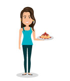Woman cartoon holding dessert cake isolated Stock Photos