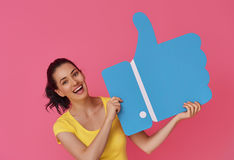 Woman with cartoon like icon Stock Image