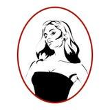 Woman cartoon portrait icon. Woman diva monochrome cartoon icon or avatar Royalty Free Stock Images