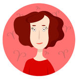 Woman cartoon portrait representing Aries Zodiac Sign Stock Image