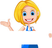Woman cartoon presenting with holding blank sign Royalty Free Stock Photos
