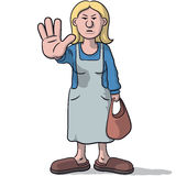 Woman cartoon sign of alt. Illustration of a cartoon woman with hand stop sign Stock Images