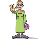 Woman cartoon sign of alt. Illustration of a cartoon woman with hand stop sign Royalty Free Stock Images
