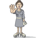 Woman cartoon sign of alt. Illustration of a cartoon woman with hand stop sign Royalty Free Stock Image