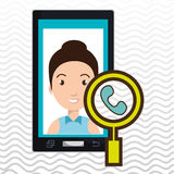 woman cartoon smartphone telephone search Stock Image