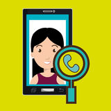 woman cartoon smartphone telephone search Royalty Free Stock Photography