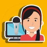 Woman cartoon speak microphone Stock Photos