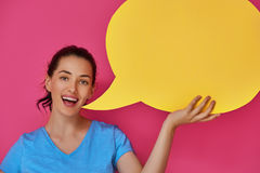 Woman with cartoon speech Royalty Free Stock Photography