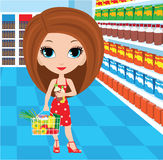 Woman cartoon in a supermarket Royalty Free Stock Photography