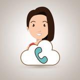 woman cartoon telephone cloud Royalty Free Stock Photo