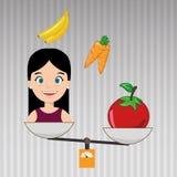 woman cartoon vegetable organic balance Stock Photo