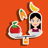 woman cartoon vegetable organic balance Royalty Free Stock Photo
