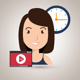 Woman cartoon video record clock Royalty Free Stock Images
