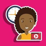 Woman cartoon video record clock Stock Image
