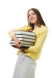 Woman cary many books Royalty Free Stock Photography