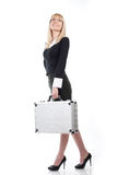 Woman with case on a white Royalty Free Stock Photography