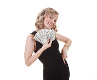 Woman with cash Royalty Free Stock Photography