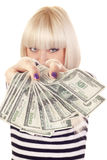 Woman with cash Royalty Free Stock Photo
