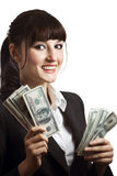 Woman with cash Royalty Free Stock Images