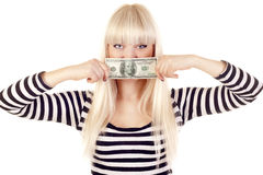 Woman with cash over her lips Stock Photos