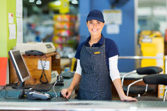 Woman cashier supermarket stock photos