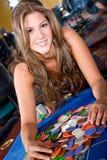 Woman in a casino Stock Photos