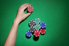 Woman with casino chips stock photos