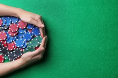 Woman with casino chips royalty free stock image