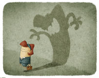 Woman casting shadow of an angry woman Stock Photo