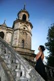 Woman beside castle Stock Image