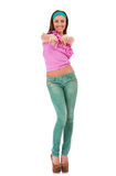Woman in casual clothes, pointing at you Royalty Free Stock Images