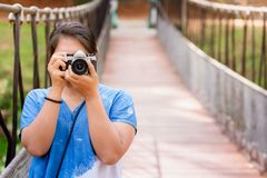 Woman Take Picture on the Bridge Royalty Free Stock Photography