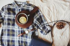woman casual fall stylish clothes flat lay with plaid shirt Royalty Free Stock Photos