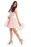 Woman in casual salmon dress. Royalty Free Stock Image