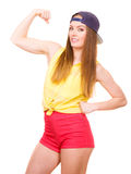 Woman casual style showing off muscles biceps Stock Image