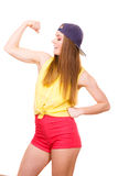 Woman casual style showing off muscles biceps Royalty Free Stock Photos
