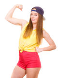Woman casual style showing off muscles biceps Stock Photos