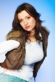 Woman in casual waistcoat. Winter fashion. Stock Image