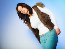 Woman in casual waistcoat. Winter fashion. Stock Images