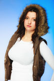 Woman in casual waistcoat. Winter fashion. Royalty Free Stock Photo