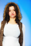 Woman in casual waistcoat. Winter fashion. Royalty Free Stock Photography