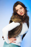 Woman in casual waistcoat. Winter fashion. Stock Photos