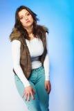 Woman in casual waistcoat. Winter fashion. Royalty Free Stock Photos